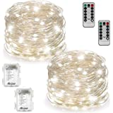 Warmtaste 2 Set Fairy Lights Battery Operated Waterproof with Remote Control(Timer), 8 Modes 100 LED 33ft String Lights Copper Wire Firefly Lights for Bedroom Wedding Festival Decor