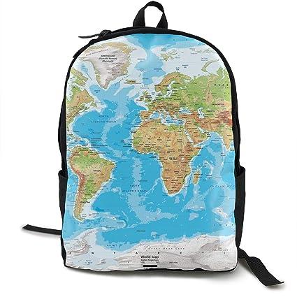 baaa1118b665 Amazon.com: Great World Map Durable Travel Sports Backpack for Women ...