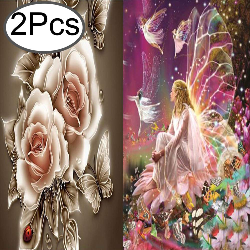 2 Pack 5D DIY Diamond Painting Cross Stitch Kit 5D Diamond Embroidery Rhinestone Painting Kit 5D Decorating Wall Stickers 30 x 40 cm Purple Fairy and 35 x 35 cm Retro Flower by Standie