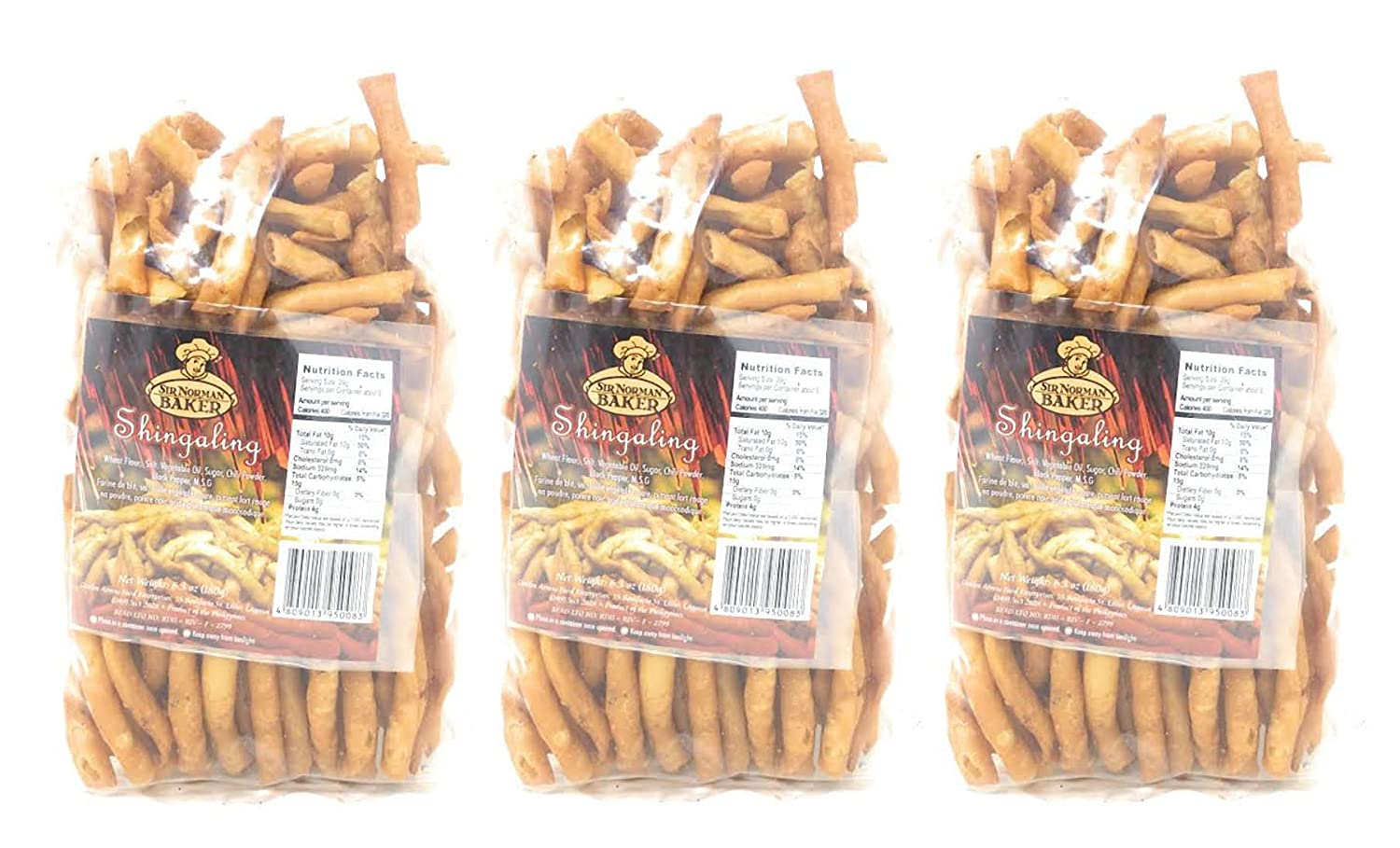Sir Norman Baker Shingaling Filipino Dried Egg Noodle Snack 6.3oz, Pack of 3