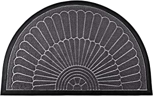 """Mibao Half Round Door Mat, Durable Front Outdoor Rug, Heavy Duty Rubber Mats, Non-Slip Low Profile Semicircle Doormats for Entry, Garage, Patio, High Traffic Areas, 24"""" x 36"""", Gray"""