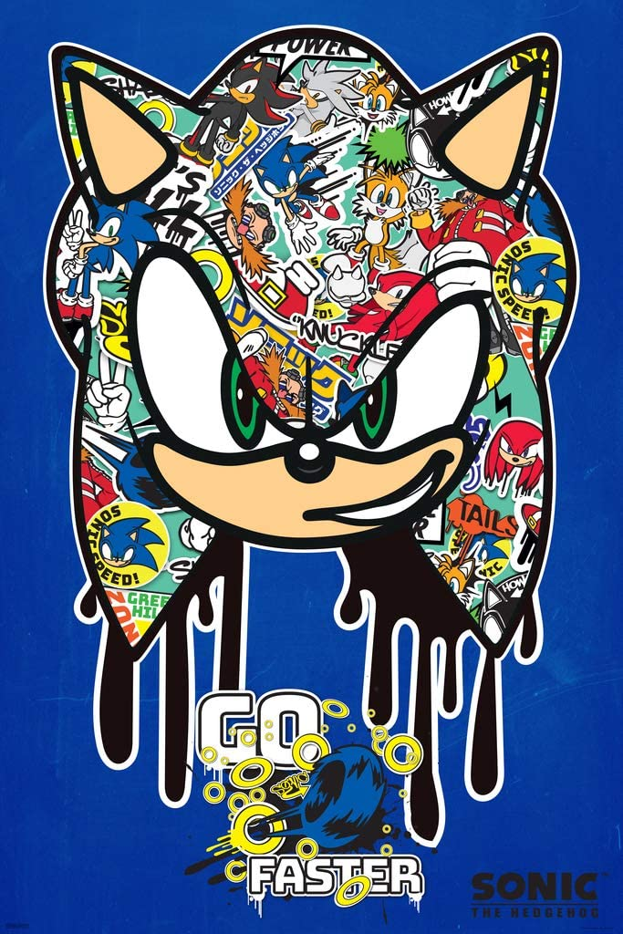 Amazon Com Pyramid America Sonic The Hedgehog Go Faster Graffiti Sega Video Game Gaming Cool Wall Decor Art Print Poster 24x36 Posters Prints
