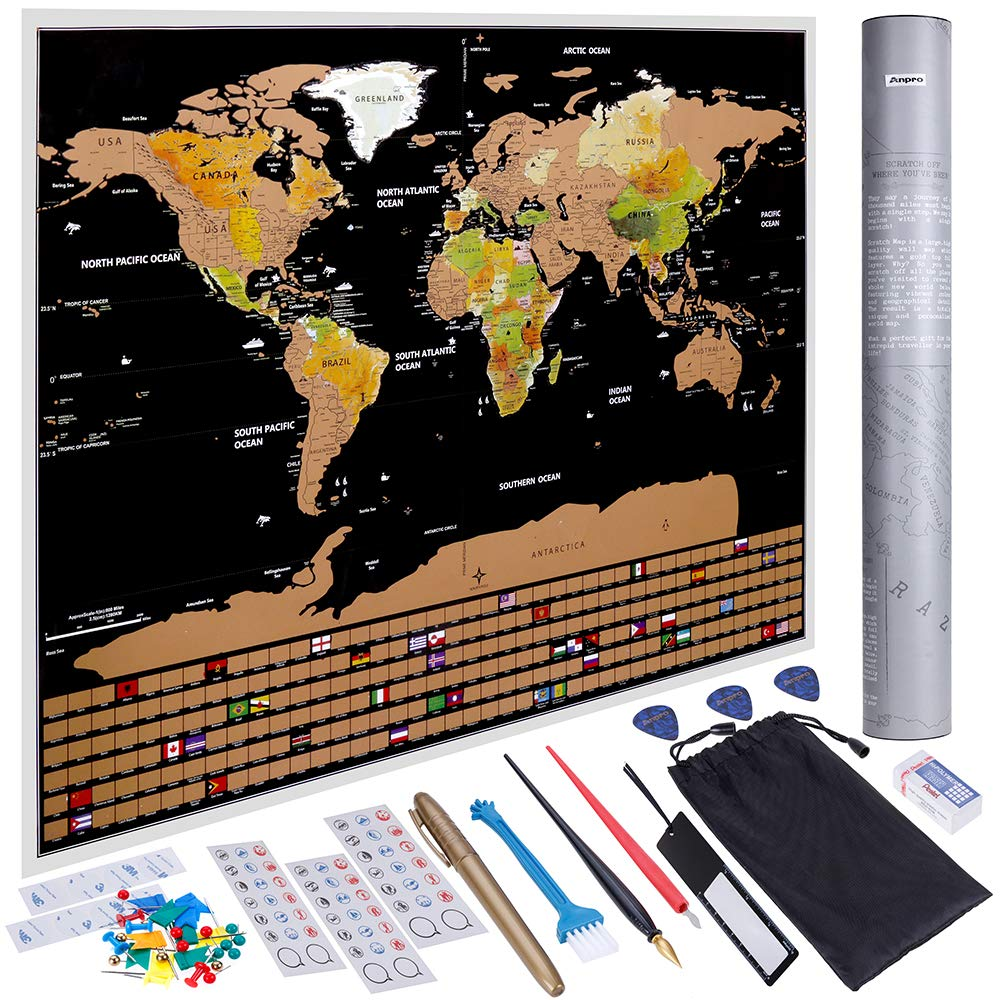 Anpro Scratch Off World Map Perfect Gift for Traveling Abundant Accessories Kit and Gift Tube Detailed World Map with US States and Country Flags