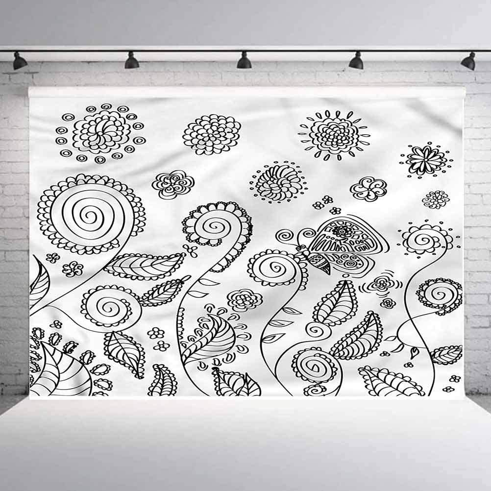 6x6FT Vinyl Photography Backdrop,Floral,Doodle Swirled Flowers Photo Background for Photo Booth Studio Props