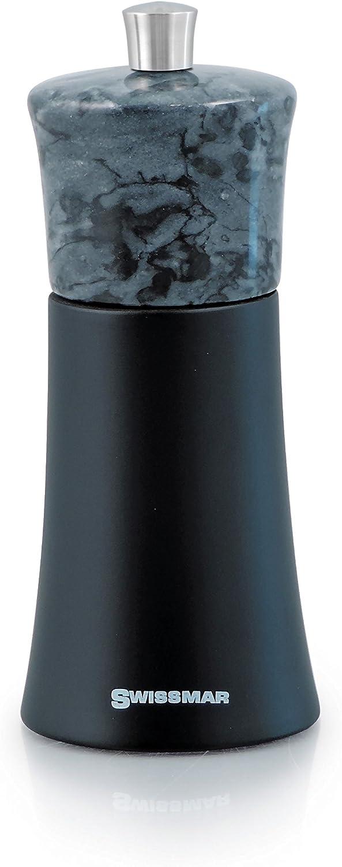 Swissmar Torre Black Matte Wood Salt Mill with Granite Top 15cm//6,