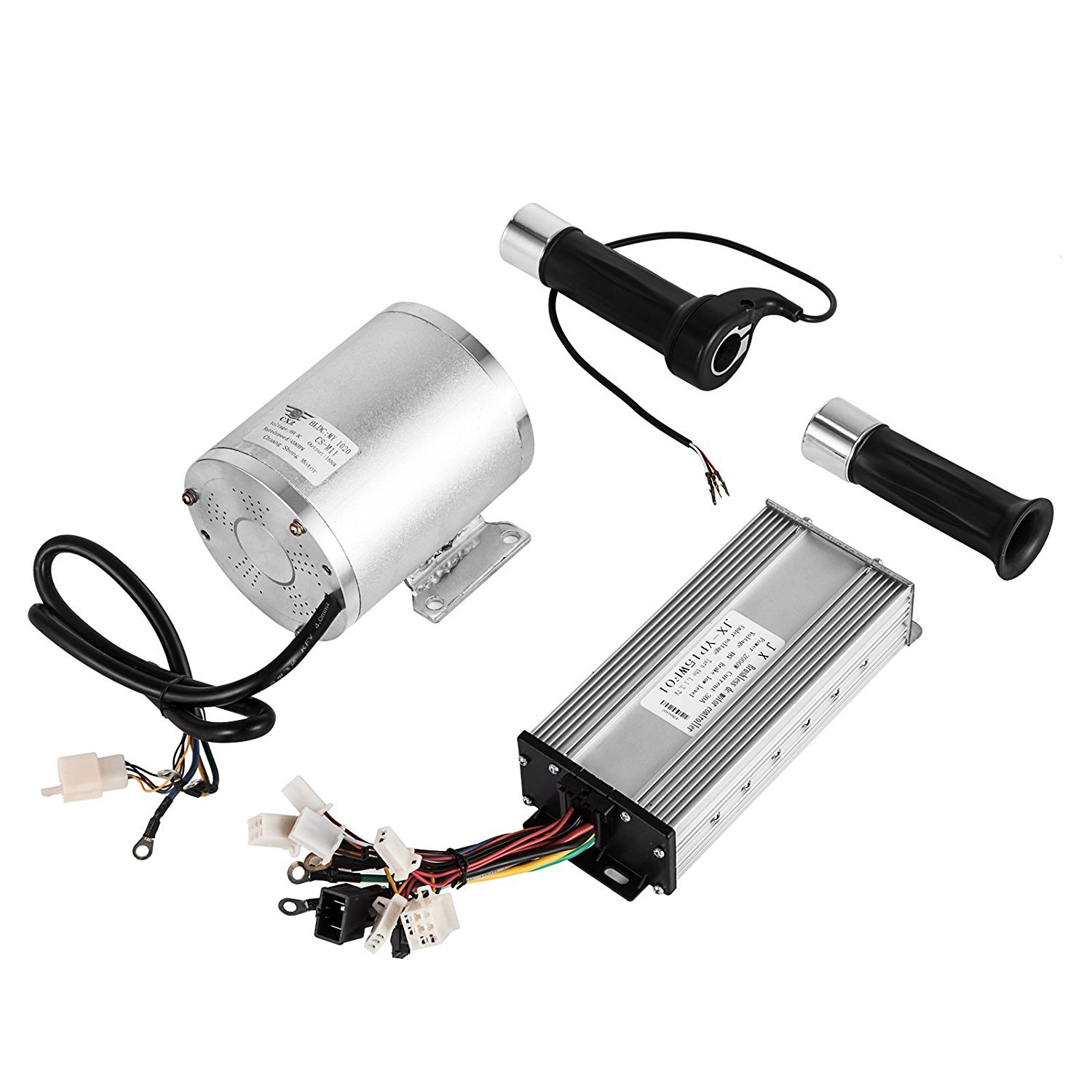 Mophorn 1800W Electric Brushless DC Motor Kit 48V High Speed Brushless Motor with 32A Speed Controller and Throttle Grip Kit for Go Karts E-bike Electric Throttle Motorcycle Scooter and More (1800W) by Mophorn (Image #1)