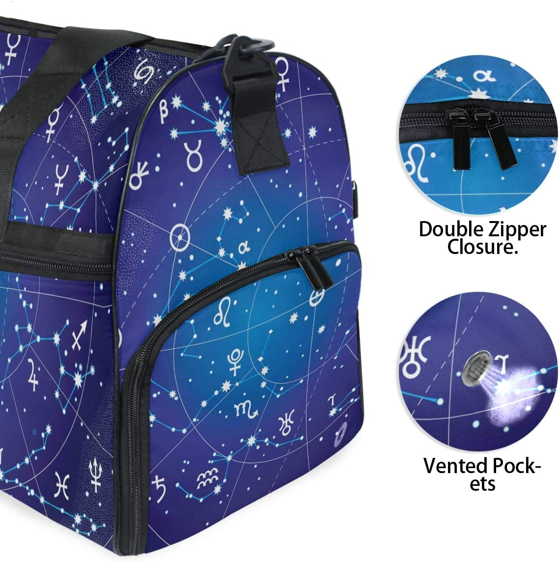 ALAZA Zodiac Constellation Galaxy Stars Sports Gym Duffel Bag Travel Luggage Handbag Shoulder Bag with Shoes Compartment for Men Women
