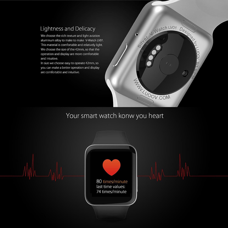 Amazon.com: LUOOV Men and Women Bluetooth Smart Watch Camera Sport Fitness Wrist Waterproof Wireless Phone Watch (Blue): Cell Phones & Accessories