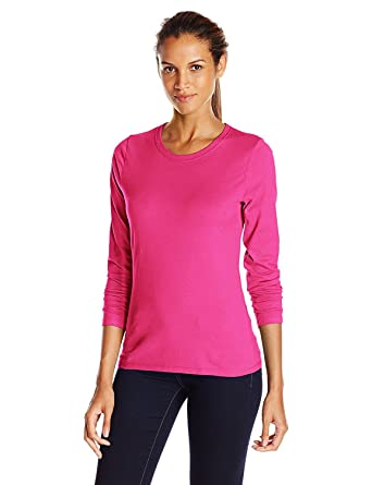 ab78d7e4c10a Hanes Women's Long-Sleeve Crewneck T-Shirt_Sizzling Pink_Large_Sizzling  Pink_Large at Amazon Women's Clothing store: