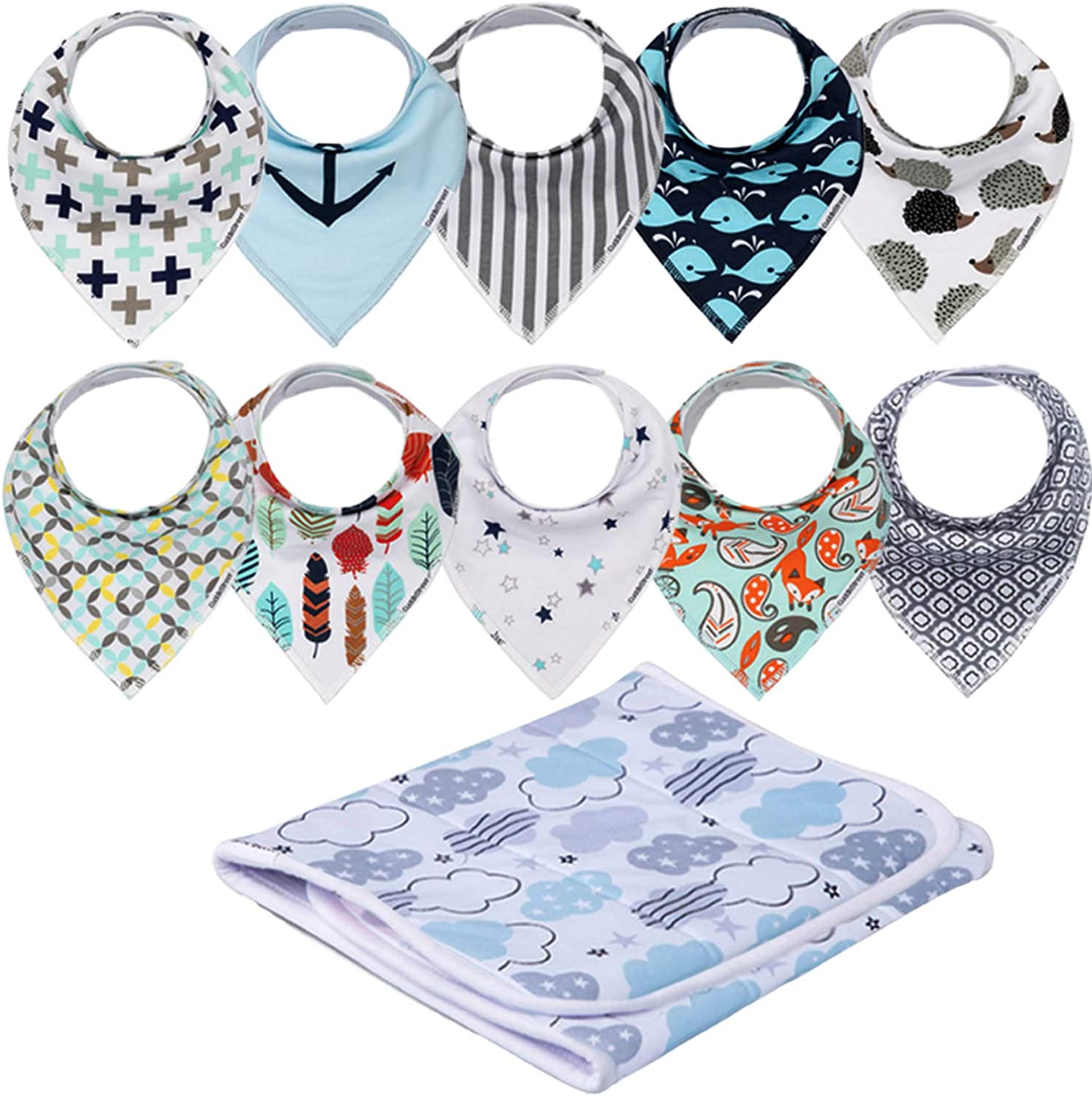 Bandana Bibs for Boys and Burp Cloth Set - 10 Pack Organic Cotton - Soft Absorbent Drool Bibs - Baby Shower Gift - Newborn and Toddler by CuddleStreet