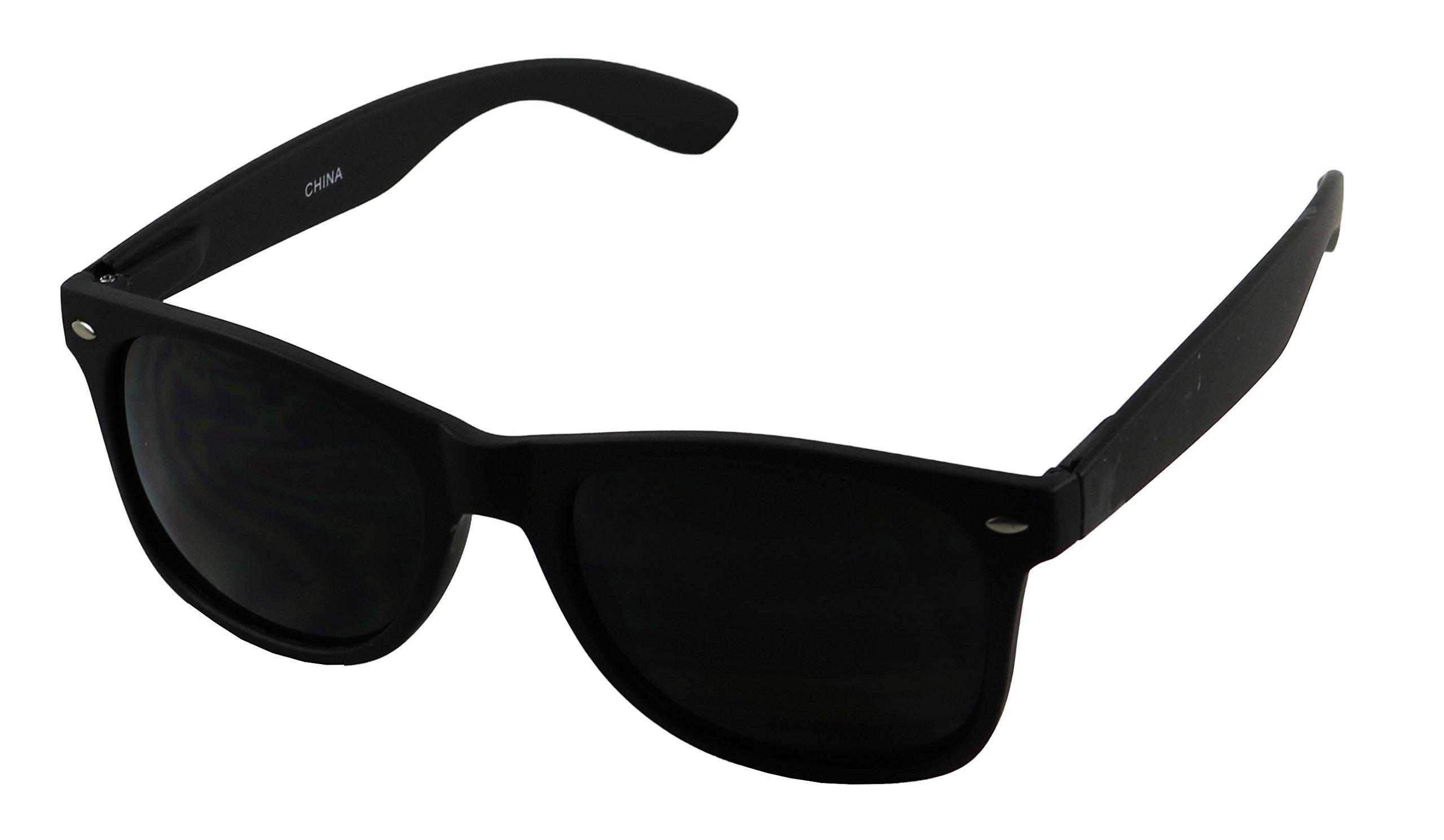 ShadyVEU - Super Dark Black Lens Round Springe Hinge Retro Soft Matte Mens Sunglasses by ShadyVEU