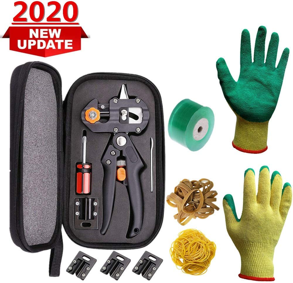 MorJar Garden Grafting Tool, Pruner Kit with Gardening Gloves, Grafting Tapes and Rubber Bands,Plant Branch Twig Vine Fruit Tree Cutting Scissors Shear
