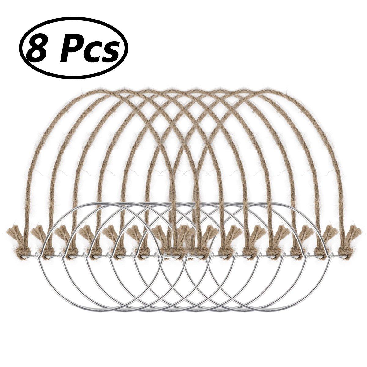 iiniim Stainless Steel Wire Handles Mason Jar Hanger, Canning Jars Hanger, Ball Pint Jar, Jar Hanging Hook for Regular Mouth Mason 8PCS Burlap Hangers One Size