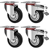 Nirox Set van 4 Zware Wielen 125 mm - Zwenkwielen met rem tot 400 kg - Massief rubber industriële wielen voor binnen en…