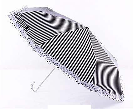 Amazon.com: Katoot@ 2016 new Spain order black and white stripe 3 fold manual umbrella rain sun women silver coating plegable paraguas de mujer (White): ...