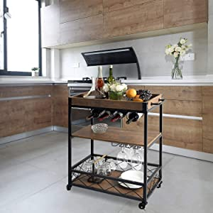 CharaVector Kitchen cart with 3 -Tier Shelves, Practical Industrial Kitchen Bar&Serving Cart,Metal Wine Rack Storage and Glass Bottle Holder, Brown, Rolling Kitchen cart