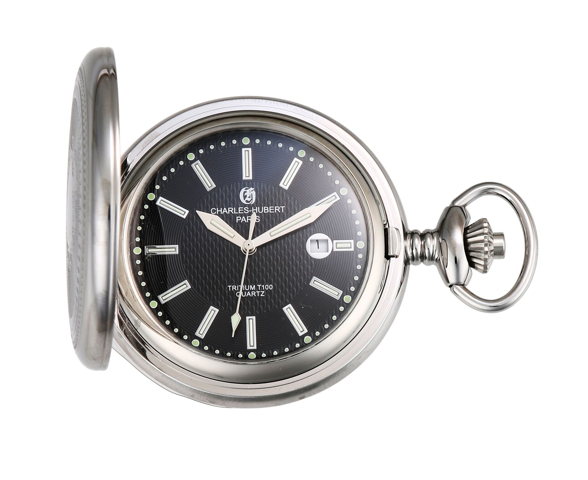 Charles Hubert Stainless Steel Hunter Case Tritium Quartz Pocket Watch XWA5565