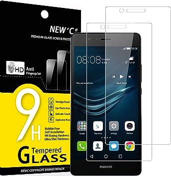NEWC 2 Unidades, Protector de Pantalla para Huawei P9 Lite, Antiarañazos, Antihuellas, Sin Burbujas, Dureza 9H, 0.33 mm Ultra Transparente, Vidrio Templado Ultra Resistente: Amazon.es: Electrónica