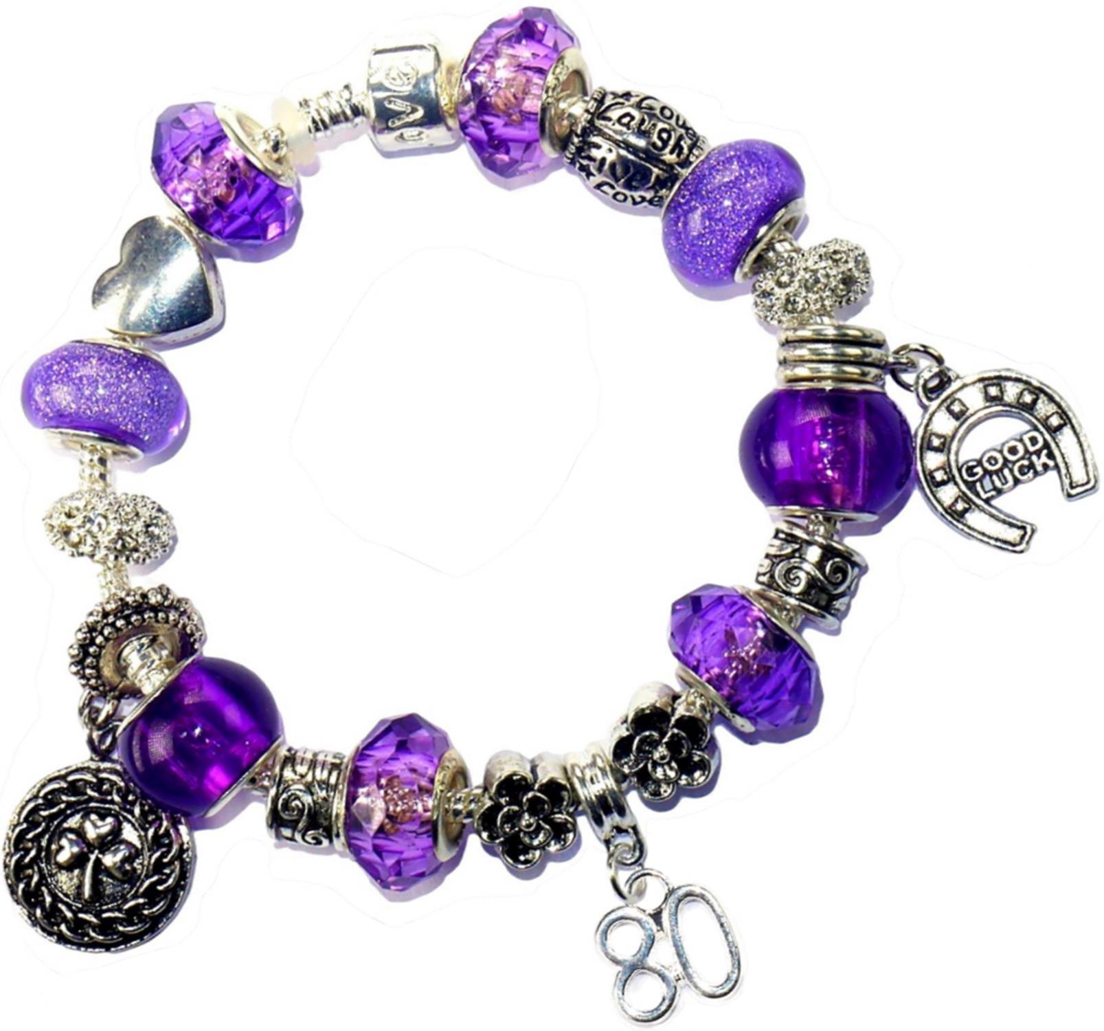 Charm Buddy 80th Birthday Purple Pandora Style Bracelet With Charms Gift Box Jewelry