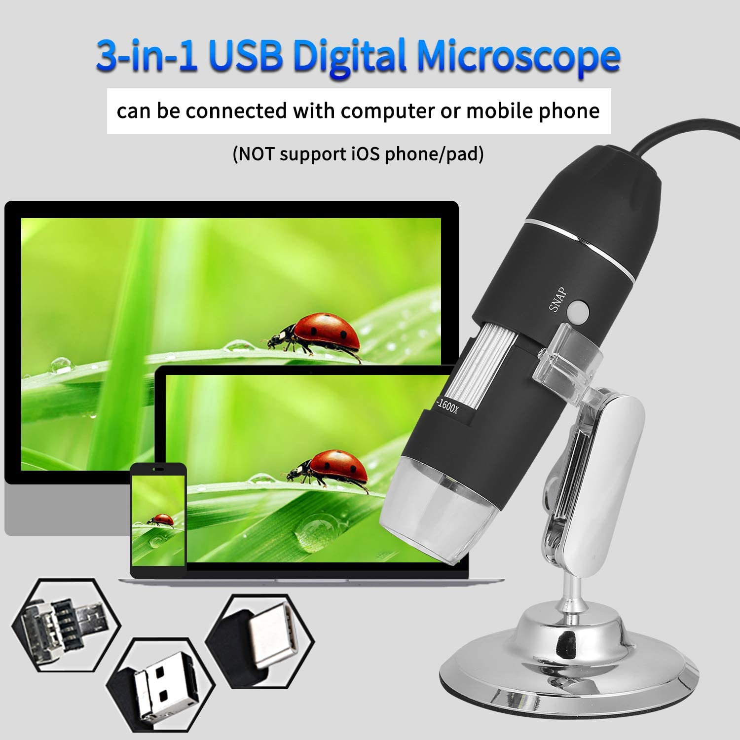 1080P Microscope Suction Cup Mount Adjustable Brightness Magnification Magnifier for Indoor with Lens Optical Size 1//6in