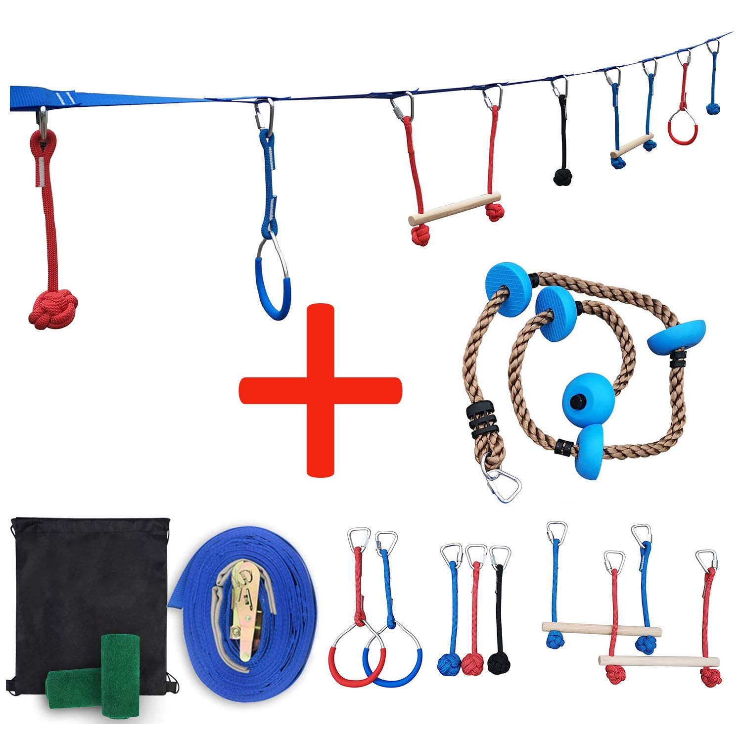 Patioline 45'' Ninja Slackline Monkey Bars Kit Jungle Gym Obstacle Course for Kids Warrior Training Equipment - 2 Monkey Bars, 2 Gymnastics Rings, 3 Knot Fists,6.5ft Climbing Rope by Patioline