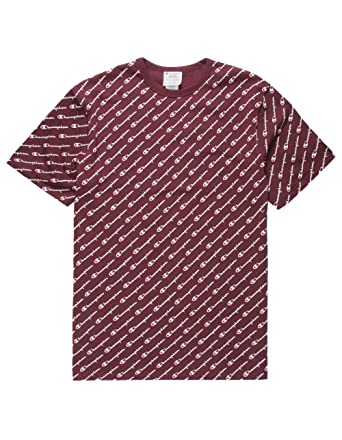 7e558f24f Champion LIFE Men's Heritage Tee-All Over Script, Diagonal Maroon, X-Small