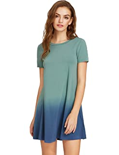 86cba0277481 Romwe Women's Tunic Swing T-Shirt Dress Short Sleeve Tie Dye Ombre Dress