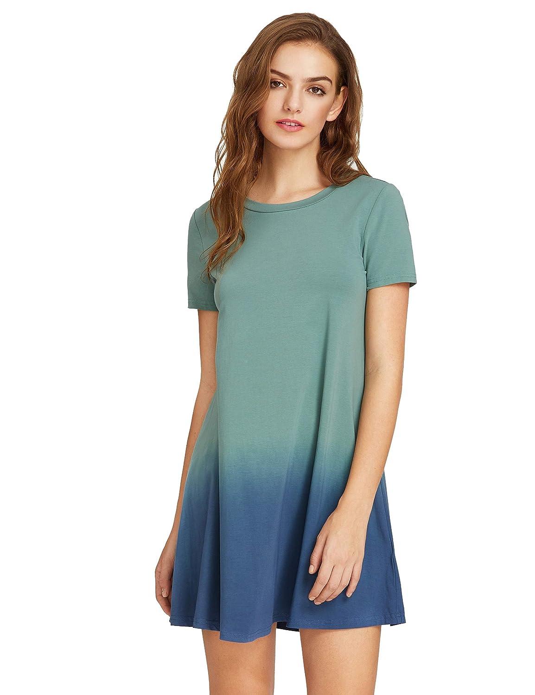 83e2492fde7 Romwe Women s Tunic Swing T-Shirt Dress Short Sleeve Tie Dye Ombre Dress at  Amazon Women s Clothing store