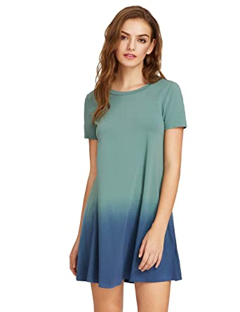 f81b53bb6ae Romwe Women s Tunic Swing T-Shirt Dress Short Sleeve Tie Dye Ombre Dress  Green X