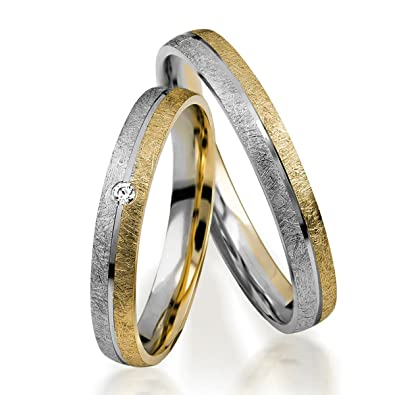 77788edddfba alianzas Oro 333 Par de precio - neumode rnetrau anillos s 153 de oro  amarillo de 8 quilates en eismatt con diamantes TW SI  Amazon.es  Joyería