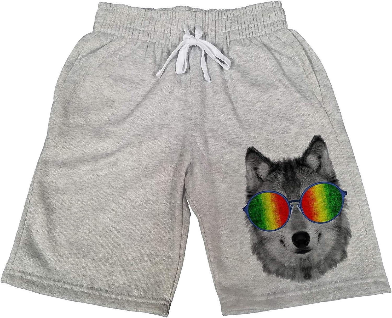 Mens Rasta Glasses Wolf B1348 Gray Fleece Jogger Sweatpants Gym Shorts