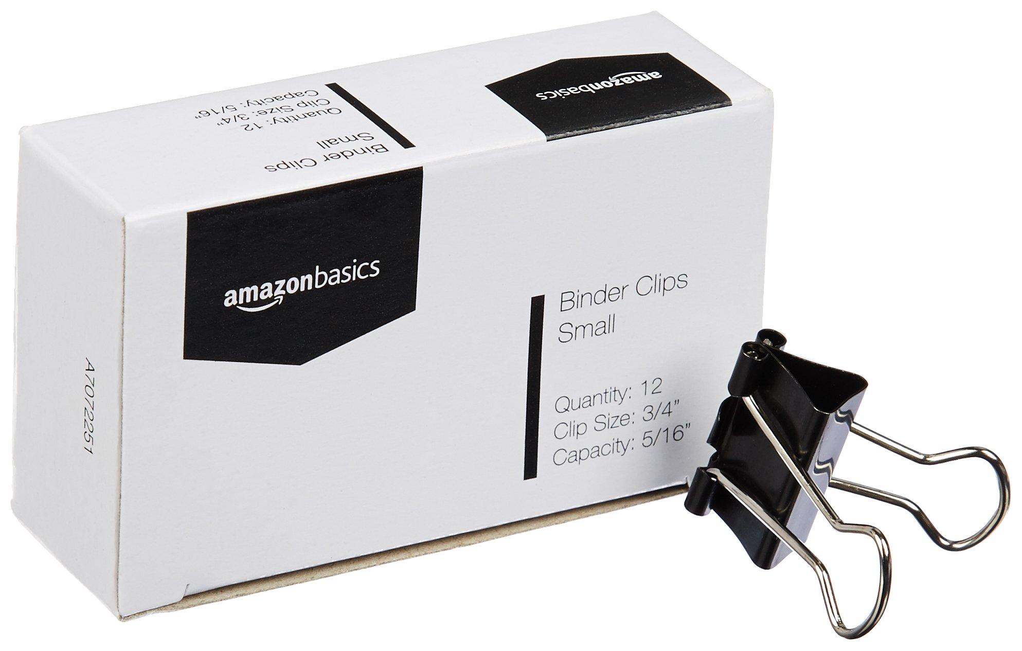 AmazonBasics Binder Clips - Small, 12 per Pack, 12-Pack
