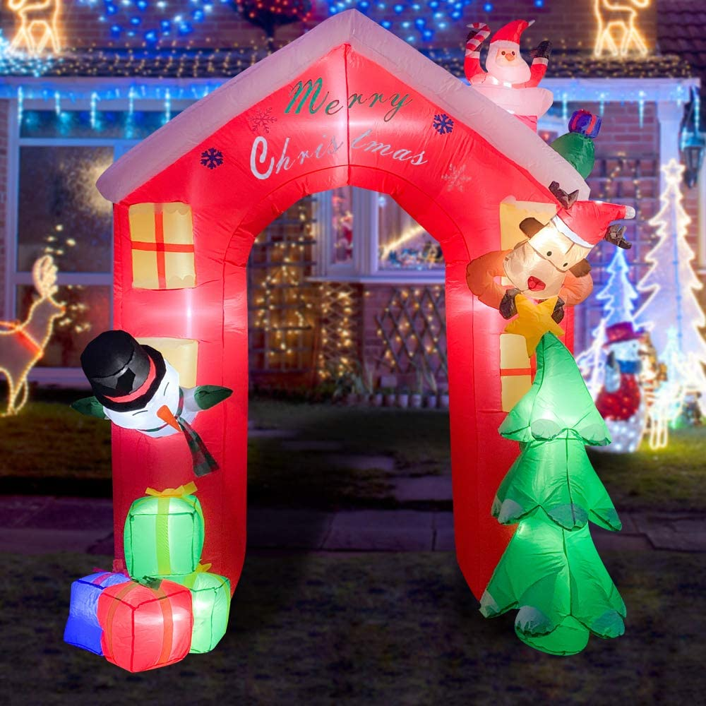 BLOWOUT FUN 8ft Inflatable Christmas Arch with Santa, Snowman, Elk LED Blow Up Lighted Decor Indoor Outdoor Holiday Art Decor Decorations
