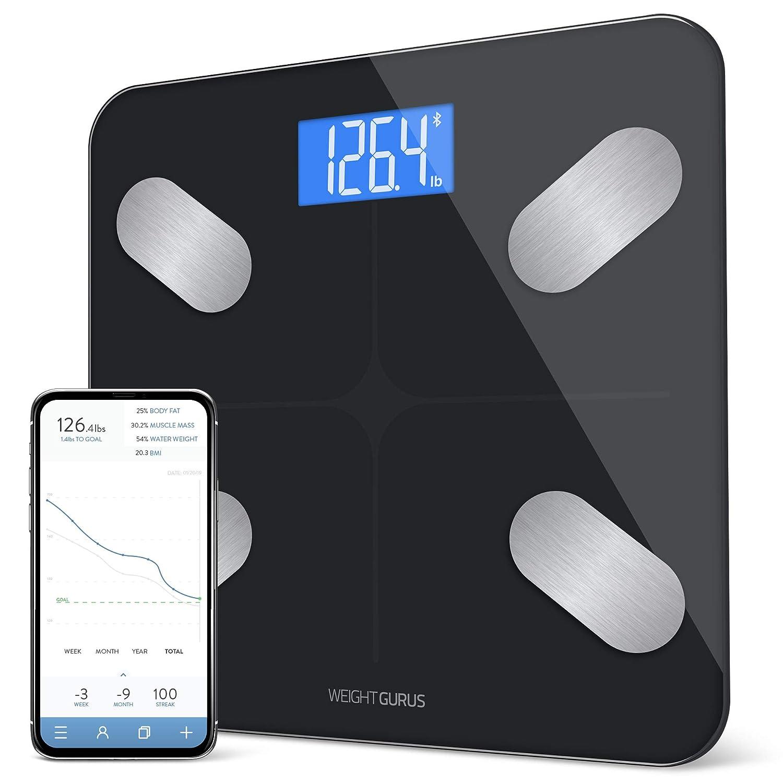 Báscula de grasa corporal inteligente con Bluetooth por Weight Gurus, solución segura conectada para tus datos, incluyendo BMI, grasa corporal, ...