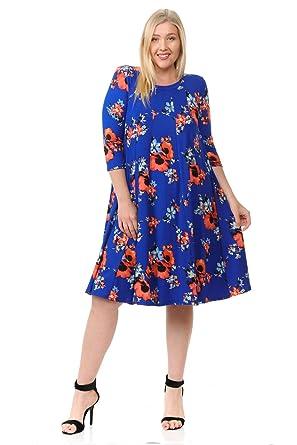 Pastel By Vivienne Womens A Line Trapeze Midi Dress Plus Size