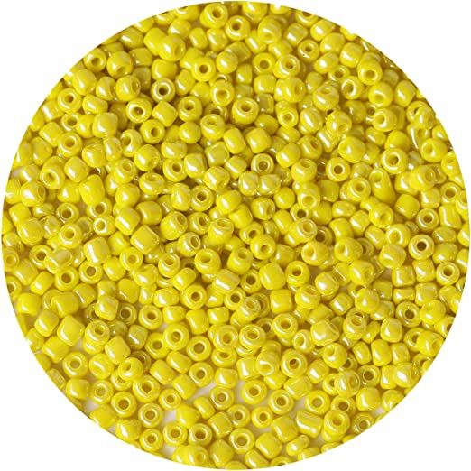 Bala&Fillic Opaque Light Yellow Pearl Color 4mm Seed Beads About 1200pcs/100Grams in Bag, 6/0 Glass Craft Beads for Making Bracelet and Necklace (Light Yellow Pearl)