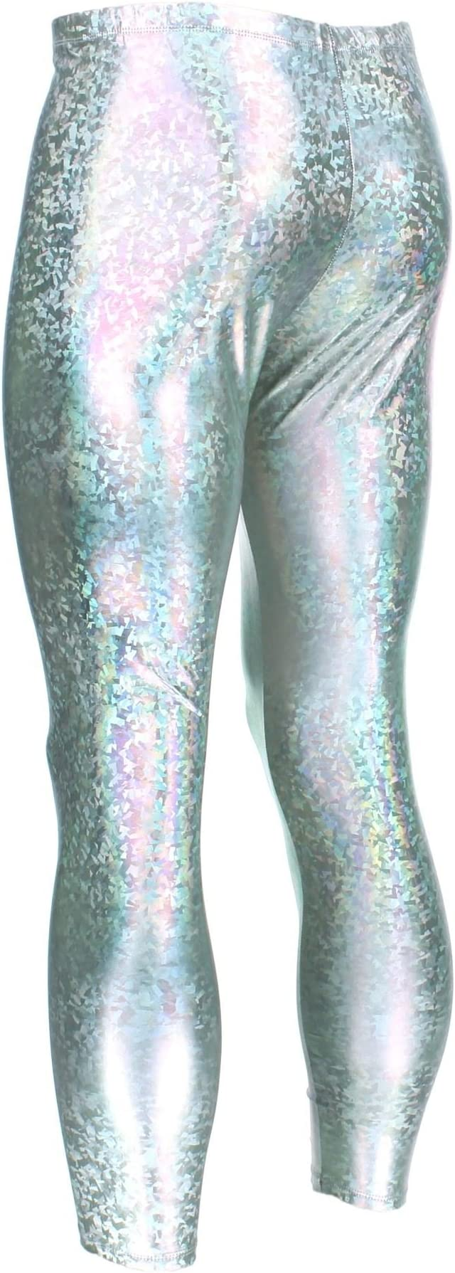 UK RAINBOW MERMAID SCALE LEGGINGS Metallic Festival Clubbing Party Gym Gift Idea
