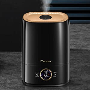 iTvanila Cool Mist Humidifier, Quiet Ultrasonic Humidifiers for Bedroom Babies, 5L Automatic Humidity Keeping Humidifiers for Large Home Office, LED Display with Humidity & Temperature, Black