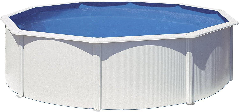 Gre KITPR303 Bora Bora - Piscina Elevada Redonda, Aspecto Acero Blanco, 300 x 120 cm