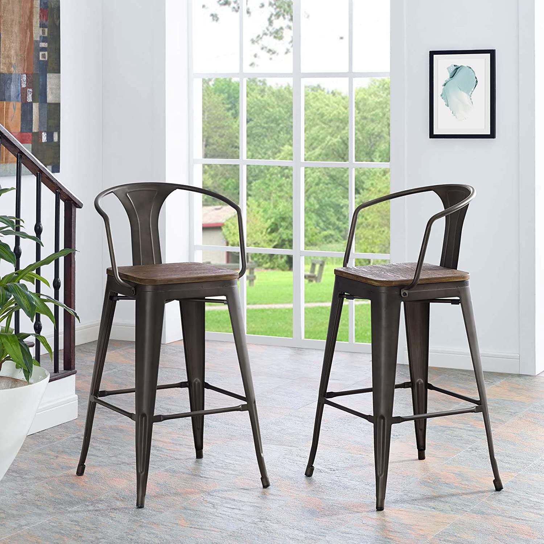 EEI-2044-BRN Modway Furniture Mark Wood Bar Stool Brown