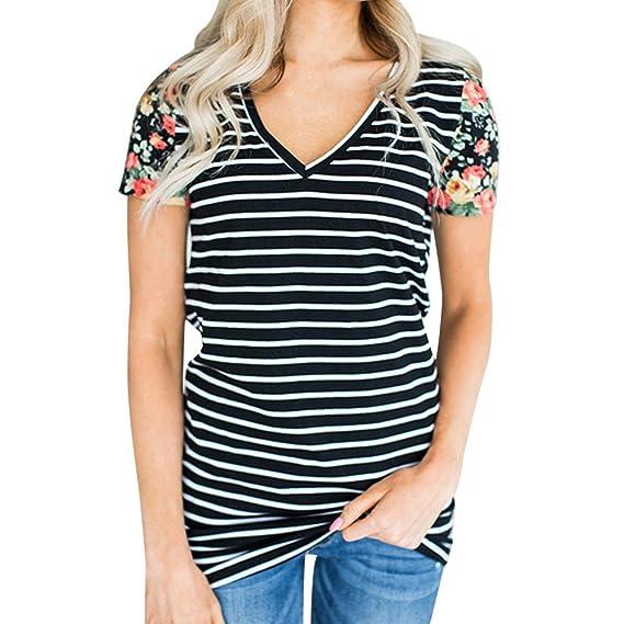 Tops Mujeres Camisetas,Dama Sexy Hombro frío Fuera del Cuello en V Blusa Tiras Camisola