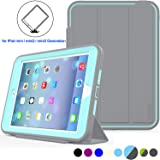 iPad Mini 1/2/3 Case Three Layer Heavy Duty Shock Poof Smart Cover, Auto Sleep Wake With Leather Stand Feature For iPad mini 1/2/3 (Gray/Skyblue)
