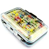 MELIP Fly Fishing Lure Artificial Bait Trout Fly Fishing Lures Fishing Hooks Tackle 64pcs/sets with Fly Box