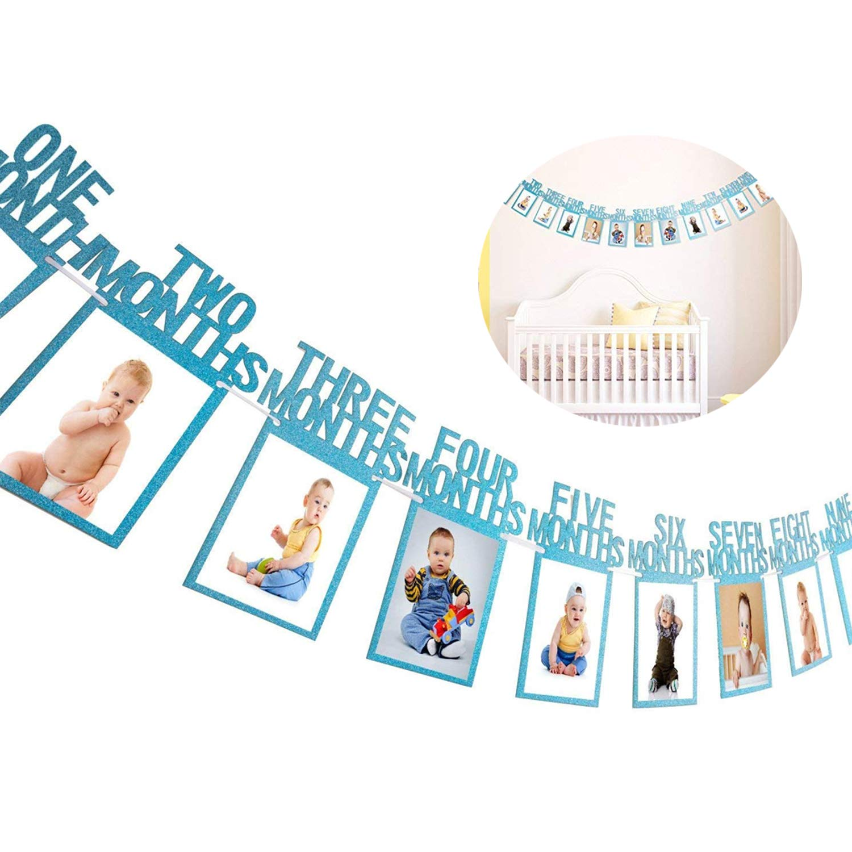 Blau Geburtstag Girlande Bilderrahmen Baby Foto Banner Baby 1-12 Monate Foto Prop Party Girlande Dekor Verdickte Karte Papier Liuxn 1