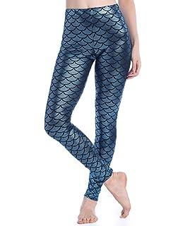 6d5fe04f0e1a79 SAYFUT Women's Digital Print Mermaid Fish Scale Stretch Legings Pant S-4XL