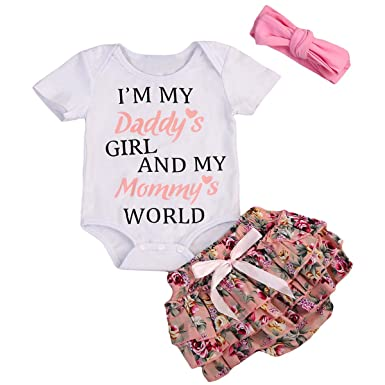 0627d9ccb Newborn Baby Girls Clothes Letter Rompers Floral Ruffel Pants Shorts  Headband 3PCS Outfits Set (0