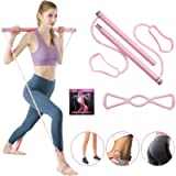 KMM Pilates Bar Kit with Resistance Band, Portable Yoga Pilates Stick 8 Shape Chest Rally Pull Rope Muscle Toning Bar…