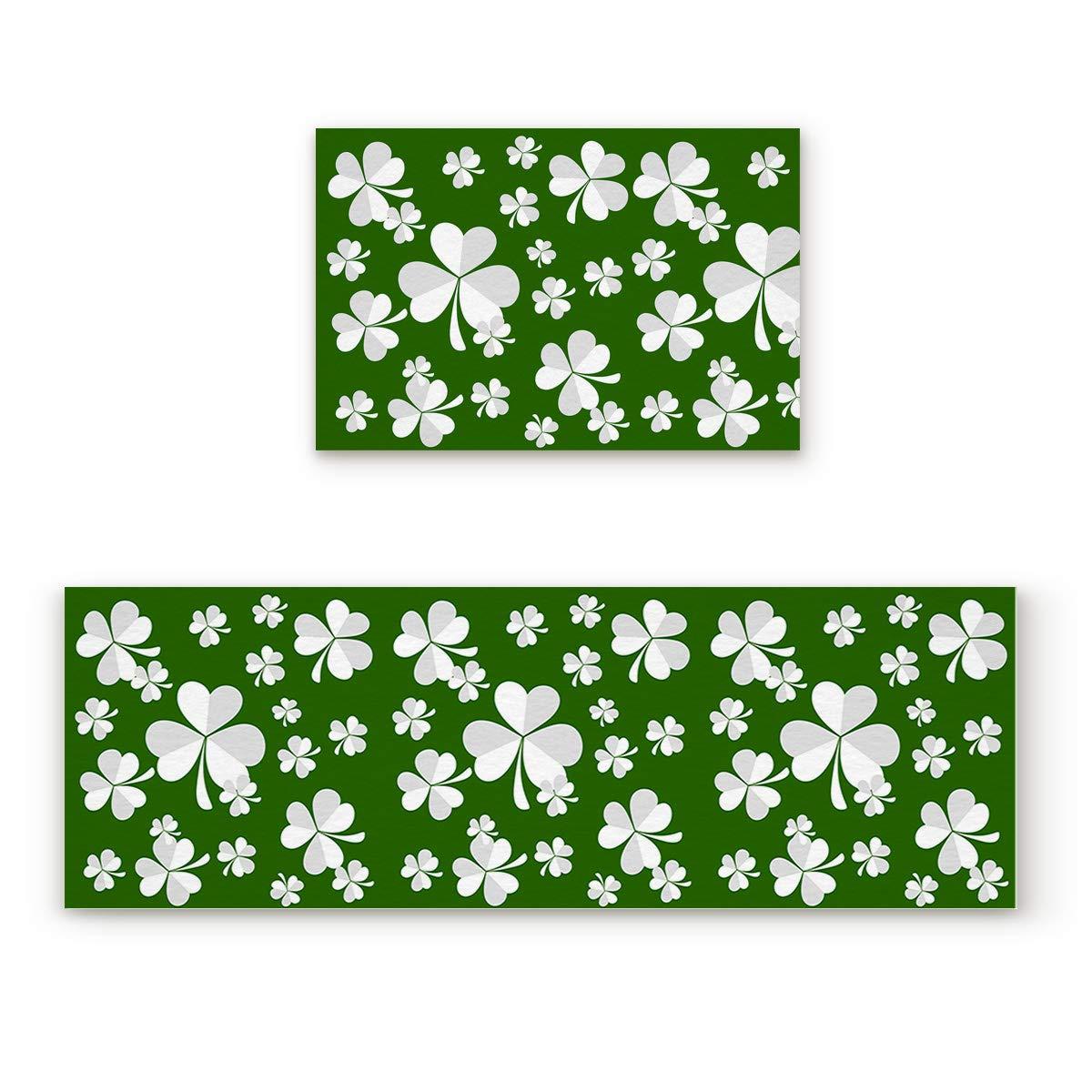 "Aomike 2 Piece Non-Slip Kitchen Mat Rubber Backing Doormat Green and White Shamrocks Runner Rug Set, Hallway Living Room Balcony Bathroom Carpet Sets (15.7"" x 23.6""+15.7"" x 47.2"")"