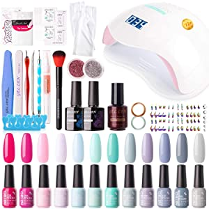 Gellen 12 Colors Gel Nail Polish Starter Kit - with 72W UV/LED Nail Lamp Top Base Coat, Essential Home Manicure Tools Popular DIY Nail Art Designs Matte/Glitters/Rhinestones, Bright and Pastel