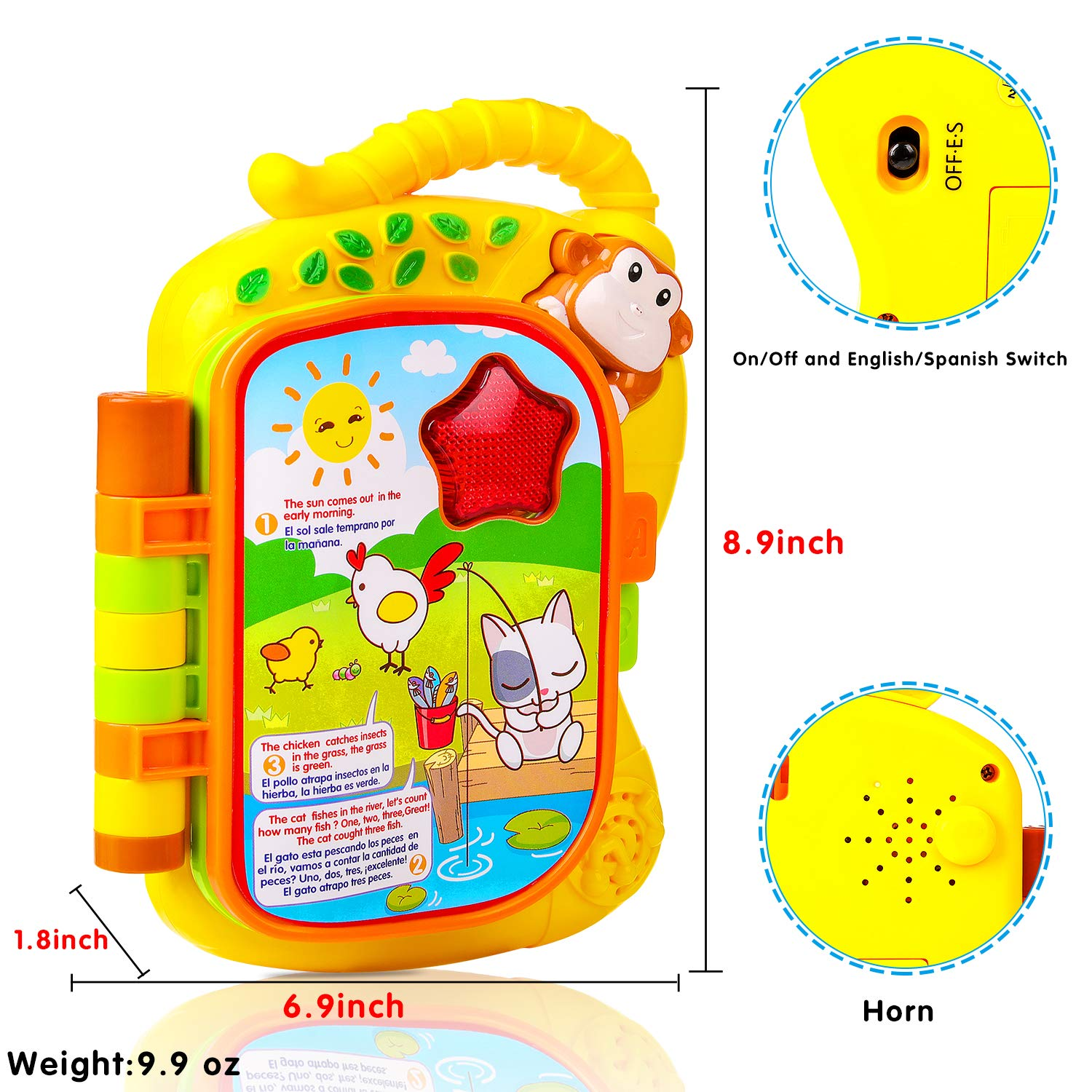 Amazon.com: M SANMERSEN Learning Baby Book Toy, Early Education Colourful Monkey Animals Flip Toy Story Baby Book in Spanish and English with Music LED ...